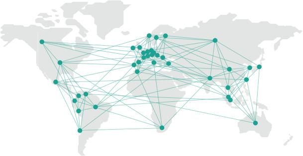 Wir betreuen 45 Kunden in 25 Ländern auf vier Kontinenten